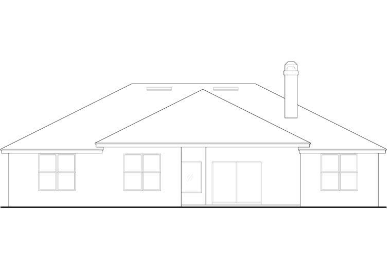 European, Mediterranean, Southern House Plan 63372 with 3 Beds, 3 Baths, 2 Car Garage Rear Elevation