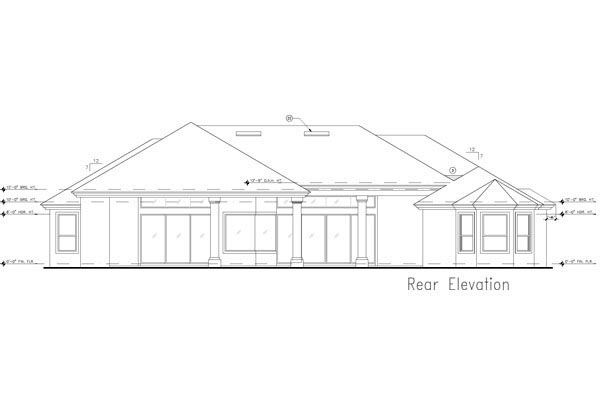 European, Mediterranean, Tuscan House Plan 63380 with 4 Beds, 4 Baths, 3 Car Garage Rear Elevation