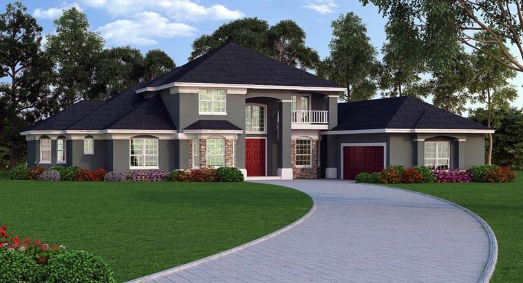 European, Mediterranean, Tuscan House Plan 63382 with 6 Beds, 7 Baths, 2 Car Garage Elevation