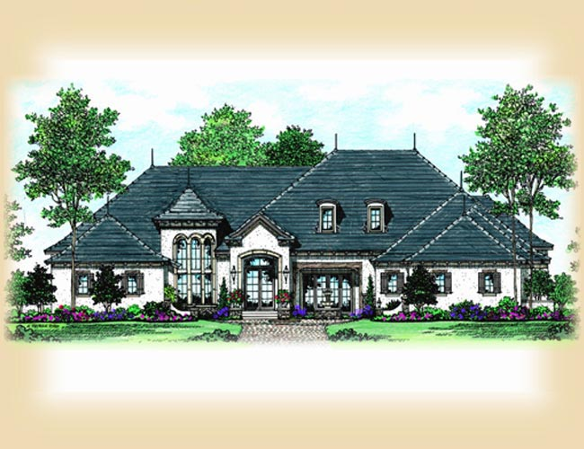 European, French Country, Mediterranean House Plan 63385 with 5 Beds, 7 Baths, 4 Car Garage Elevation