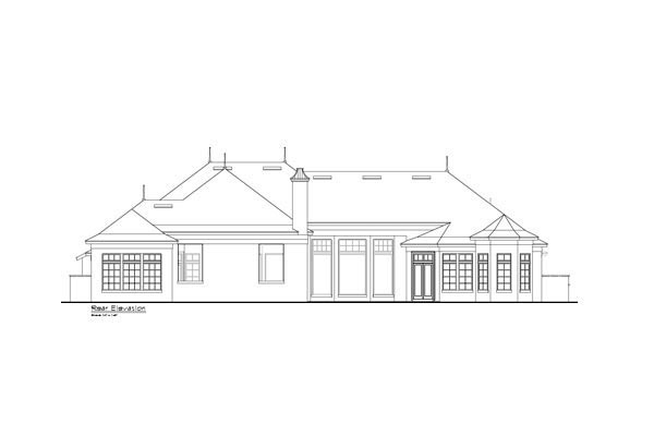European, French Country, Mediterranean House Plan 63385 with 5 Beds, 7 Baths, 4 Car Garage Rear Elevation