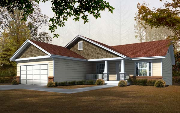 Craftsman House Plan 63513 with 5 Beds, 3 Baths, 2 Car Garage Front Elevation