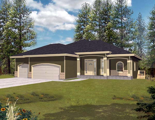 Contemporary, Mediterranean, Ranch House Plan 63514 with 3 Beds, 3 Baths, 3 Car Garage Elevation