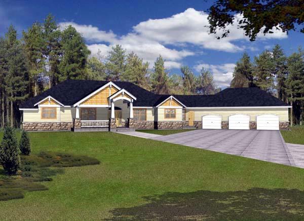 Craftsman House Plan 63543 with 4 Beds, 5 Baths, 3 Car Garage Elevation