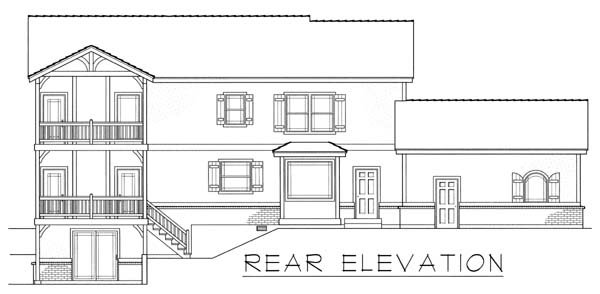 Tudor House Plan 63549 with 3 Beds, 3 Baths, 2 Car Garage Rear Elevation