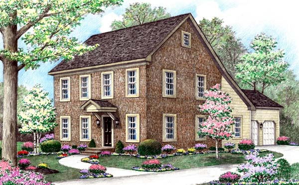Farmhouse, Saltbox House Plan 64402 with 5 Beds, 3 Baths, 2 Car Garage Elevation