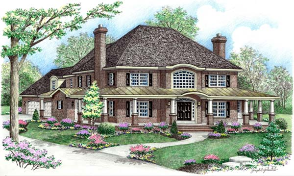 Contemporary, Farmhouse House Plan 64414 with 4 Beds, 3 Baths, 2 Car Garage Front Elevation