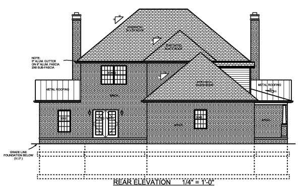 Contemporary, Farmhouse House Plan 64414 with 4 Beds, 3 Baths, 2 Car Garage Rear Elevation