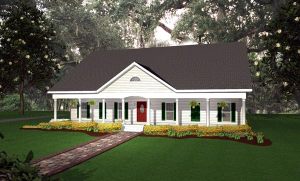 Country, One-Story, Traditional House Plan 64514 with 4 Beds, 3 Baths, 2 Car Garage Front Elevation