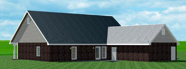 Country, One-Story, Traditional House Plan 64514 with 4 Beds, 3 Baths, 2 Car Garage Rear Elevation