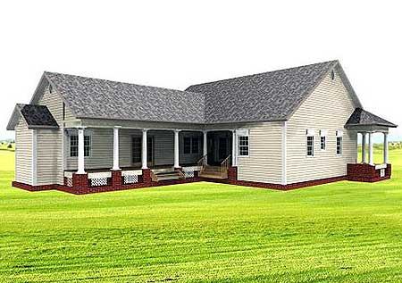 Bungalow, Country, Southern House Plan 64519 with 3 Beds, 3 Baths Rear Elevation