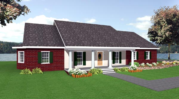 One-Story, Ranch House Plan 64520 with 4 Beds, 3 Baths, 3 Car Garage Front Elevation