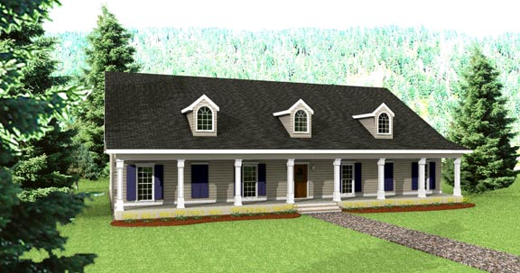 Country House Plan 64527 with 4 Beds, 3 Baths, 2 Car Garage Front Elevation