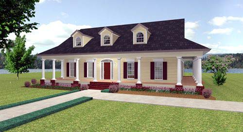 Country House Plan 64535 with 3 Beds, 3 Baths Elevation
