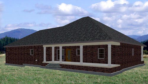 European, One-Story House Plan 64542 with 3 Beds, 2 Baths, 2 Car Garage Rear Elevation