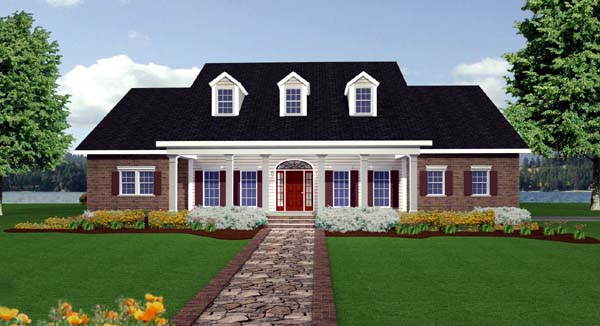 Colonial, Country, One-Story, Southern House Plan 64547 with 4 Beds, 4 Baths, 2 Car Garage Elevation