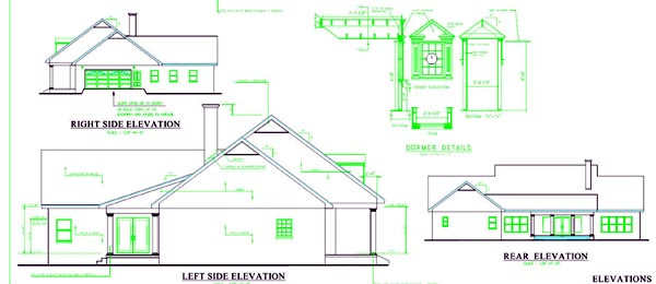 Colonial, Country, One-Story, Southern House Plan 64547 with 4 Beds, 4 Baths, 2 Car Garage Rear Elevation