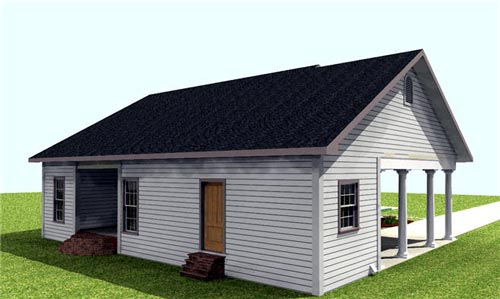 One-Story House Plan 64557 with 2 Beds, 2 Baths, 1 Car Garage Picture 2