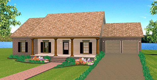 Country, One-Story House Plan 64573 with 3 Beds, 2 Baths, 2 Car Garage Elevation