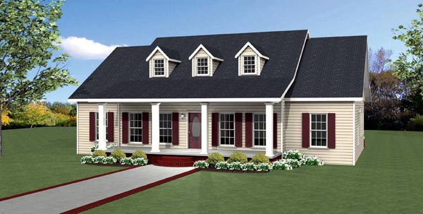 Country, Southern, Traditional House Plan 64587 with 3 Beds, 3 Baths Elevation