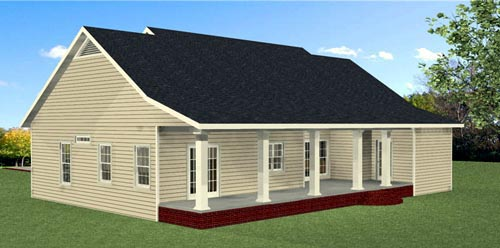 Country, Southern, Traditional House Plan 64587 with 3 Beds, 3 Baths Rear Elevation