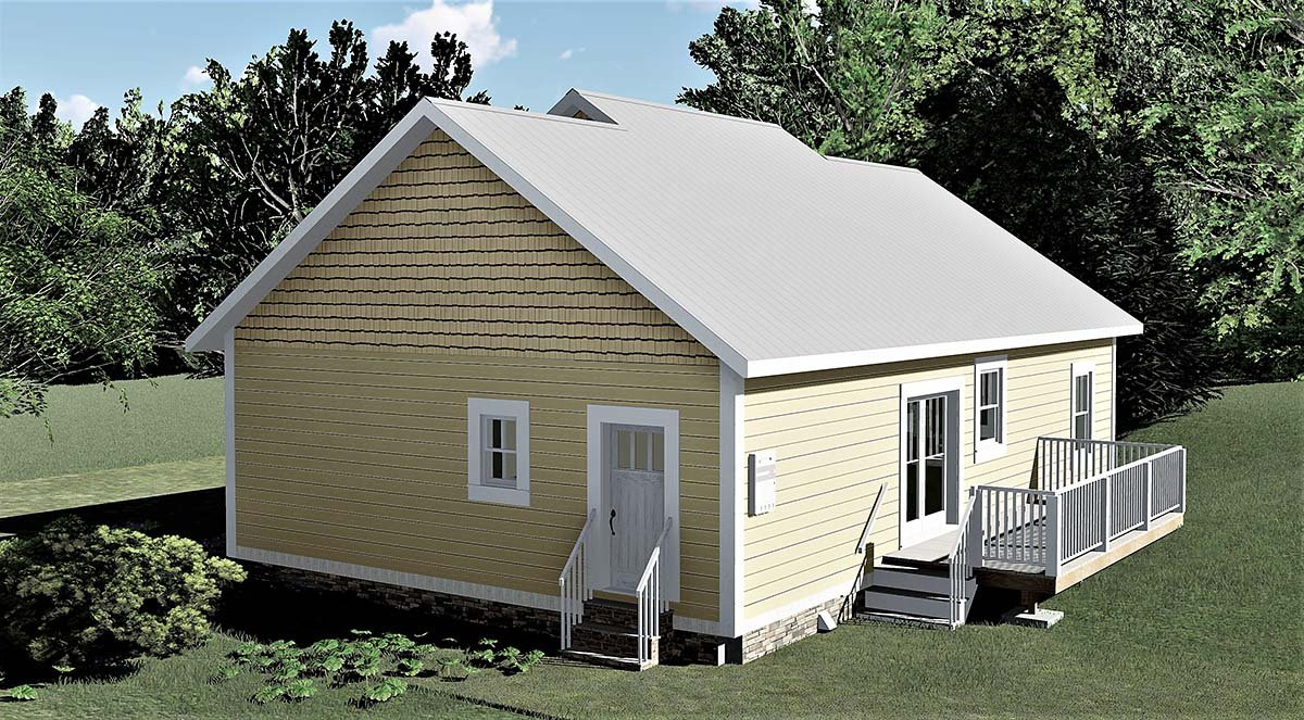 Bungalow, Cottage, Country House Plan 64595 with 3 Beds, 2 Baths Rear Elevation
