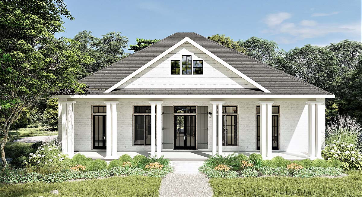 Colonial, Country, Southern House Plan 64599 with 3 Beds, 2 Baths, 2 Car Garage Elevation