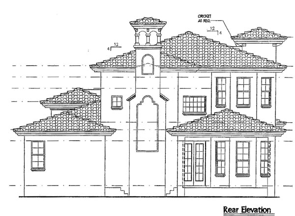 Italian, Mediterranean House Plan 64616 with 3 Beds, 4 Baths, 2 Car Garage Rear Elevation