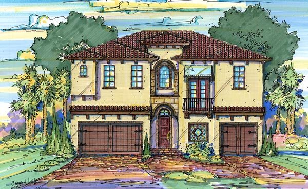 Italian House Plan 64640 with 4 Beds, 5 Baths, 3 Car Garage Elevation