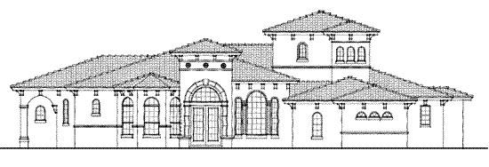 Florida, Mediterranean, One-Story House Plan 64645 with 3 Beds, 4 Baths, 3 Car Garage Elevation