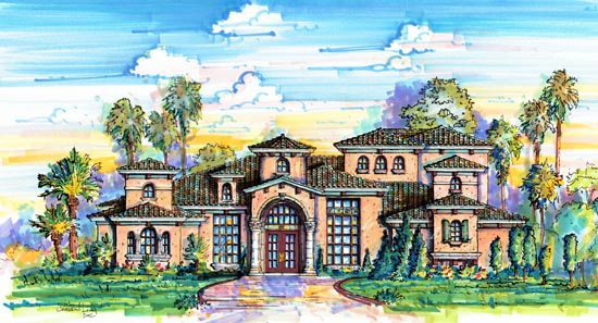 Florida, Mediterranean House Plan 64663 with 3 Beds, 6 Baths, 3 Car Garage Elevation