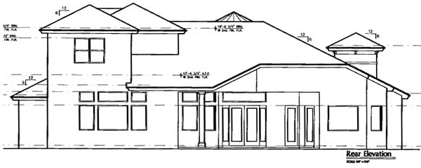 Florida, Mediterranean House Plan 64663 with 3 Beds, 6 Baths, 3 Car Garage Rear Elevation