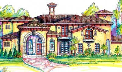 Italian House Plan 64666 with 4 Beds, 5 Baths, 3 Car Garage Elevation