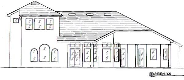 Florida, Italian, Mediterranean House Plan 64674 with 4 Beds, 5 Baths, 3 Car Garage Rear Elevation