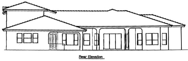 Florida, Mediterranean House Plan 64676 with 4 Beds, 5 Baths, 3 Car Garage Rear Elevation