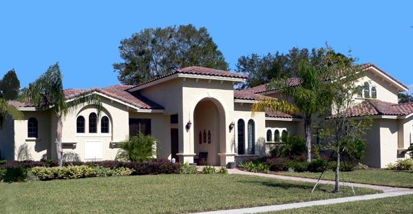 Florida, Mediterranean House Plan 64693 with 4 Beds, 5 Baths, 3 Car Garage Elevation