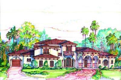 Florida, Mediterranean House Plan 64706 with 4 Beds, 6 Baths, 4 Car Garage Elevation