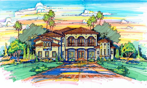 Florida, Mediterranean House Plan 64719 with 5 Beds, 7 Baths, 4 Car Garage Front Elevation