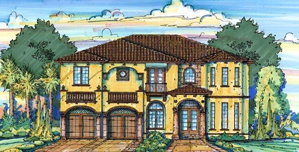 European House Plan 64722 with 4 Beds, 5 Baths, 2 Car Garage Elevation