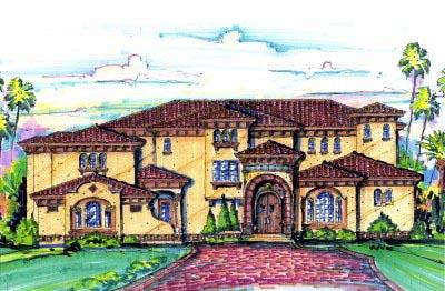 Florida, Mediterranean House Plan 64724 with 4 Beds, 6 Baths, 3 Car Garage Elevation