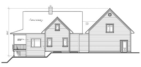 Tudor House Plan 64809 with 3 Beds, 4 Baths, 2 Car Garage Rear Elevation