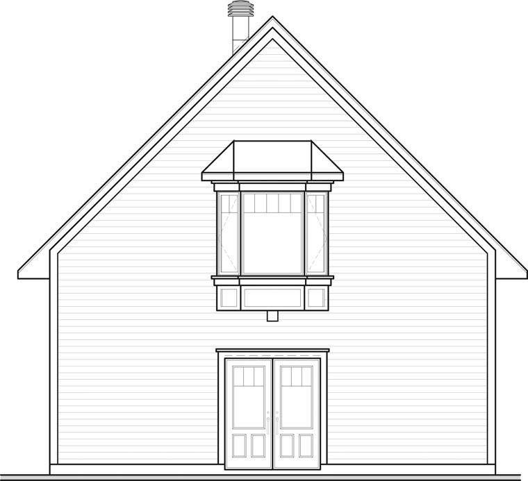 2 Car Garage Apartment Plan 64816 with 1 Beds, 1 Baths Rear Elevation