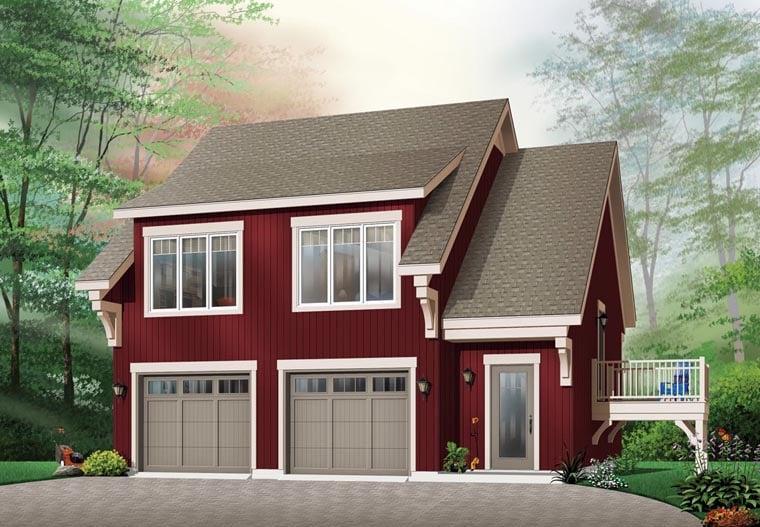 Craftsman 2 Car Garage Apartment Plan 64817 with 2 Beds, 1 Baths Front Elevation