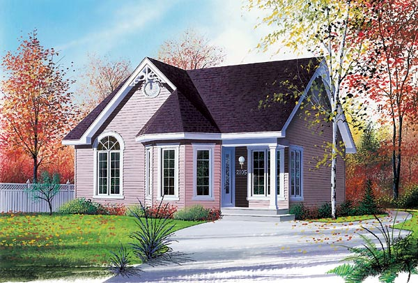 Narrow Lot, One-Story, Victorian House Plan 64822 with 2 Beds, 1 Baths Elevation