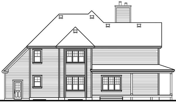 Country House Plan 64827 with 3 Beds, 3 Baths, 2 Car Garage Rear Elevation