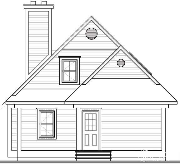 Cottage, Traditional House Plan 64828 with 3 Beds, 2 Baths Rear Elevation