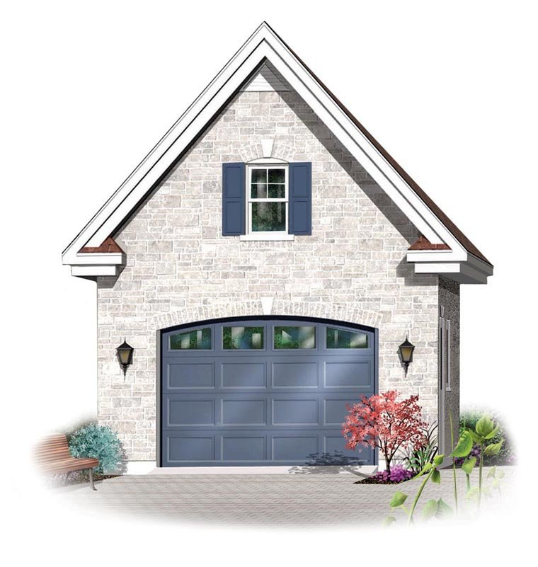 1 Car Garage Plan 64835 Elevation