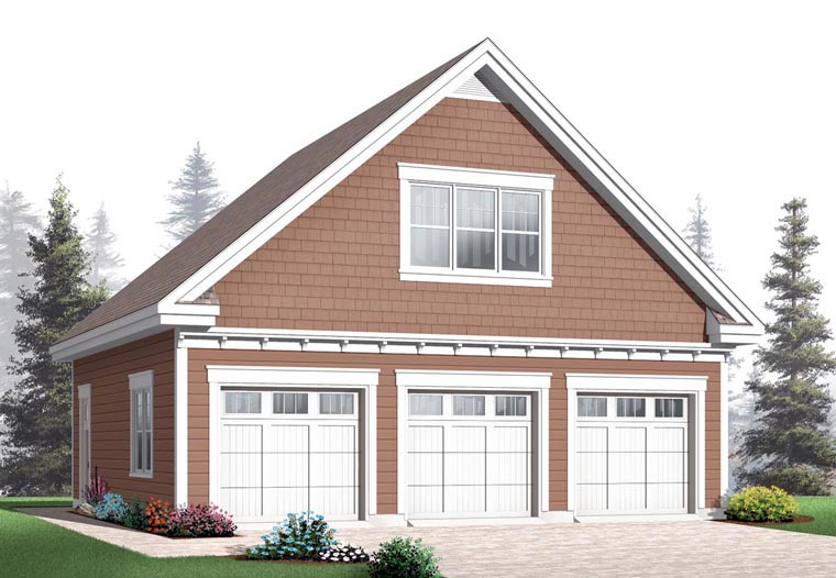 Craftsman 3 Car Garage Plan 64843 Elevation
