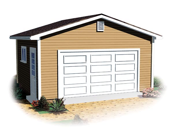 Ranch, Traditional 1 Car Garage Plan 64879 Elevation