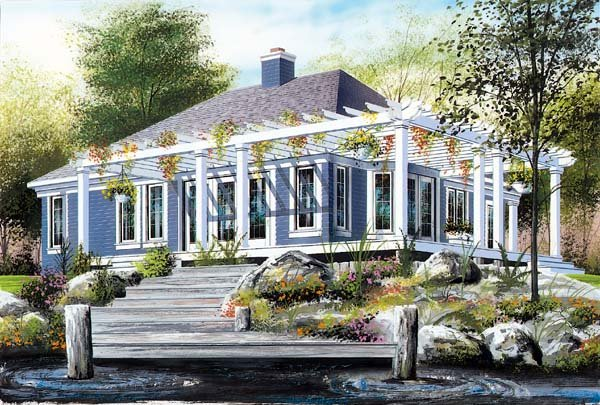 House Plan 64922 with 2 Beds, 1 Baths Elevation